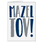 Mazel Tov Block Navy + Grey Greeting Card