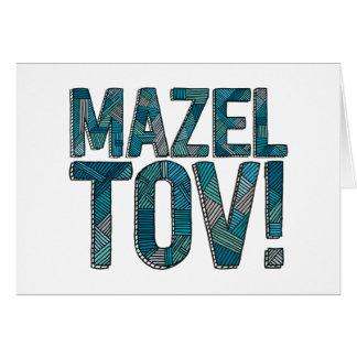 Mazel Tov Patchwork Teal Greeting Card