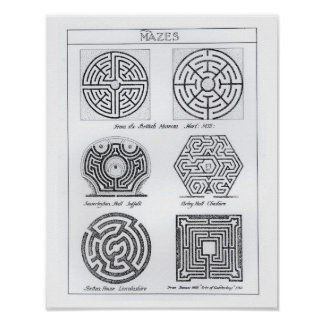 Mazes, c.1900 (engraving) (b/w photo) print