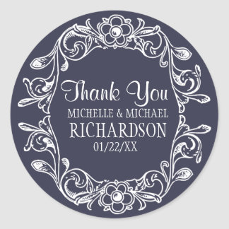 MB Vintage Floral Wreath Wedding Favor Round Sticker