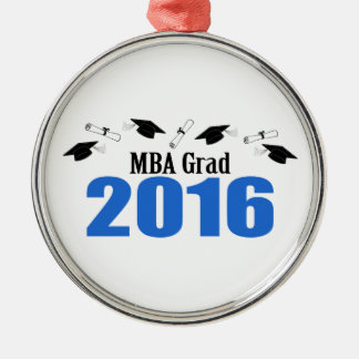 MBA Grad Class Of 2016 Caps And Diplomas (Blue) Silver-Colored Round Decoration