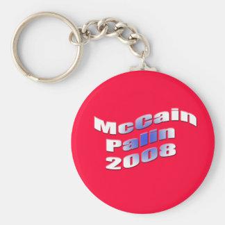 mccain palin 2008 basic round button key ring