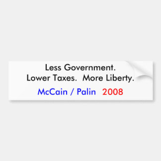 McCain Palin 2008 Less Government Bumper Stickers