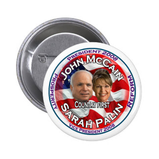 McCain Palin Country First 6 Cm Round Badge