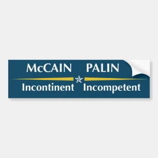 McCain / Palin Logo:   Incontinent / Incompetent Bumper Sticker