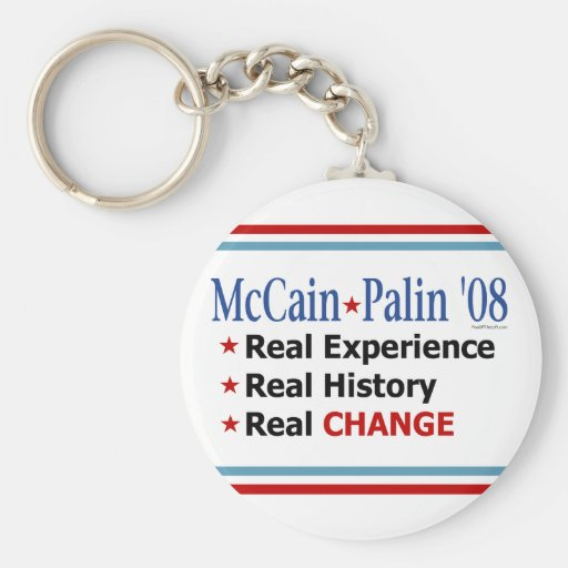 McCain Palin Real Experience Real Change Keychain