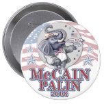 McCain Palin Republican Elephant 10 Cm Round Badge