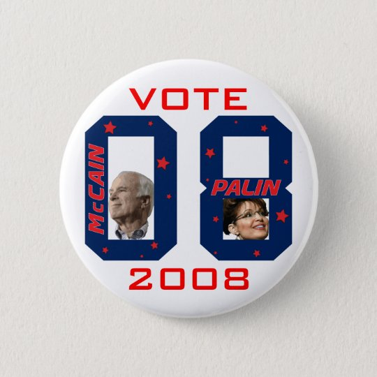 McCain Palin VOTE 2008 6 Cm Round Badge
