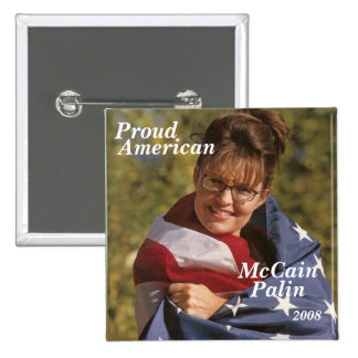 McCain, Proud, American, Palin, 2008 15 Cm Square Badge
