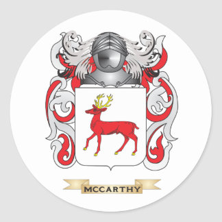 McCarthy Coat of Arms Family Crest Round Stickers
