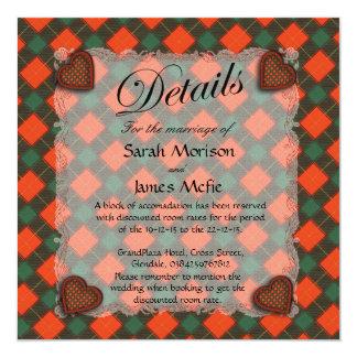 Mcfie Scottish clan tartan - Plaid 13 Cm X 13 Cm Square Invitation Card
