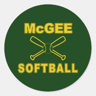 McGee Softball Round Sticker