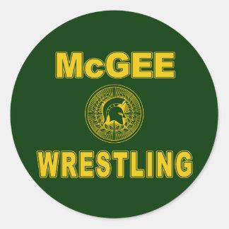 McGee Wrestling Round Sticker