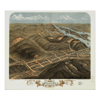 McGregor Iowa 1869 Antique Panoramic Map Poster