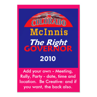 "McINNIS Governor Invitation 5"" X 7"" Invitation Card"