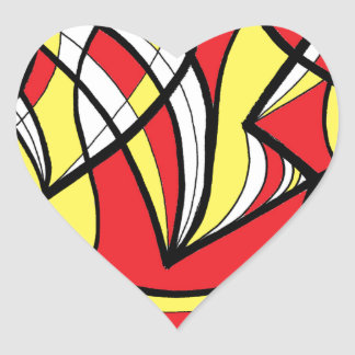Mckeever Abstract Expression Yellow Red Black Heart Sticker