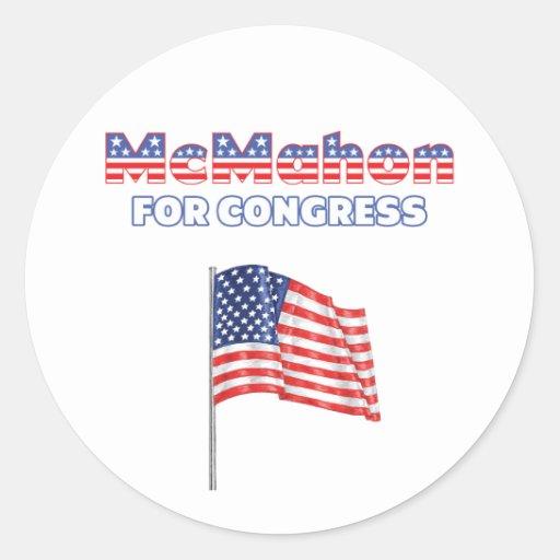 McMahon for Congress Patriotic American Flag Round Sticker