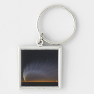 McNaught Comet Silver-Colored Square Key Ring