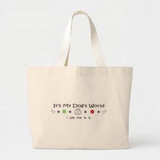 mcoct19c It's My Dog's LIfe I Just Live in It Jumbo Tote Bag