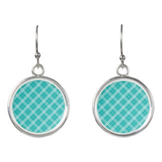 McTiffany Aqua Blue Tartan Scottish Plaid Earrings