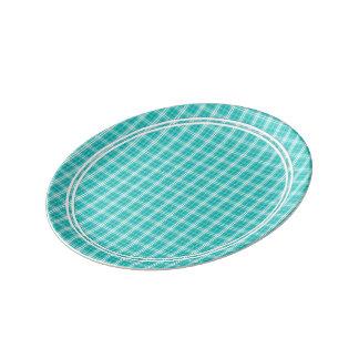 McTiffany Aqua Blue Tartan Scottish Plaid Porcelain Plates