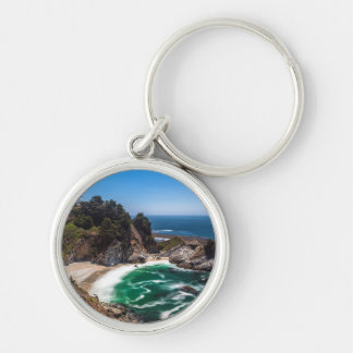 Mcway Falls in Julia Pfeiffer Burns state park Silver-Colored Round Key Ring