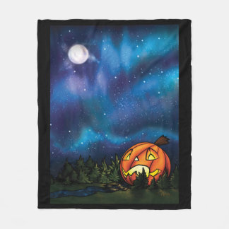MD Bordered Starry Pumpkin Nights Fleece Blanket