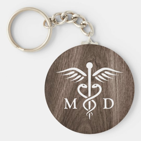 MD medical doctor with caduceus on wood background Basic Round Button Key Ring