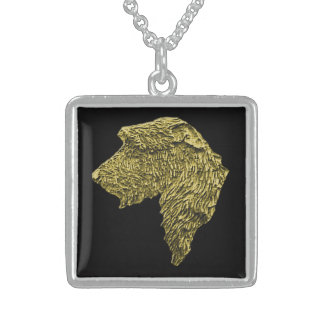 Mdm Square Stirling Silver Necklace (Gold/Black)