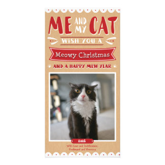 Me and My Cat Christmas 4x8 Photocard Personalized Photo Card