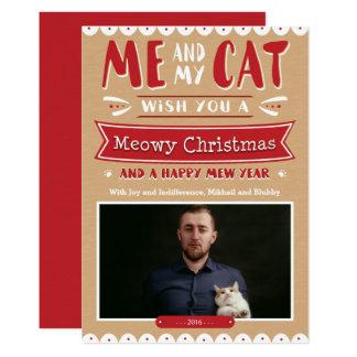 Me and My Cat Christmas 5x7 Card 13 Cm X 18 Cm Invitation Card
