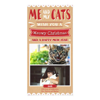 Me and My Cats Christmas 4x8 Photocard (2 Images) Customised Photo Card