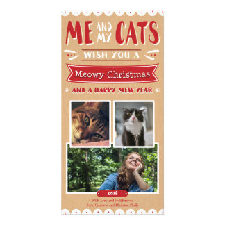 Me and My Cats Christmas 4x8 Photocard (3 Images) Personalised Photo Card