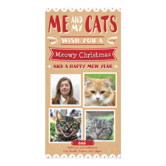 Me and My Cats Christmas 4x8 Photocard (4 Images) Photo Greeting Card
