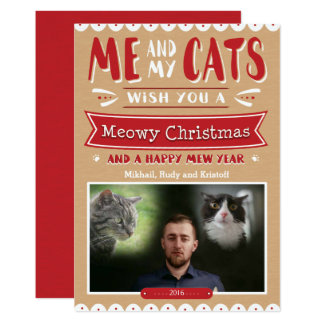 Me and My Cats Christmas 5x7 Photo Card 13 Cm X 18 Cm Invitation Card