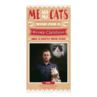 Me and My Cats Christmas Photocard (1 Image) Customised Photo Card