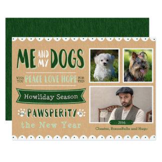Me and My Dogs 5x7 Christmas Card (3 Photos) 13 Cm X 18 Cm Invitation Card