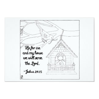 Me and My House Scripture Coloring Postcard 13 Cm X 18 Cm Invitation Card