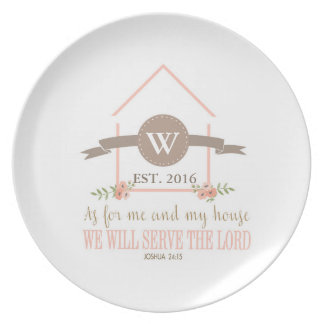 Me and my house, scripture, family initial plate