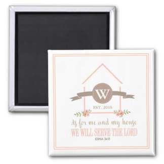 Me and my house, scripture, family initial square magnet