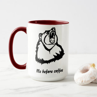 Me Before Coffee with Angry Grizzly Bear Mug