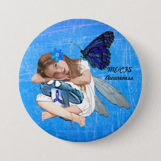 ME/CFS Angel Fairy Girl Awareness Ribbon 7.5 Cm Round Badge