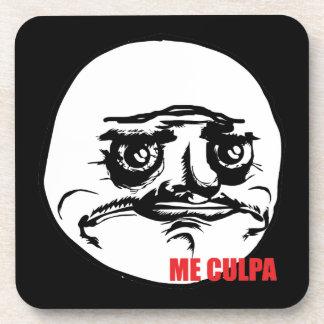 Me Culpa - set of 6 Black Cork Coasters