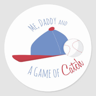 Me,Daddy And A Game Of Catch Round Stickers