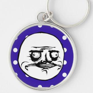 """""""Me Gusta"""" Meme Cute Blue Polka Dot Keychain"""