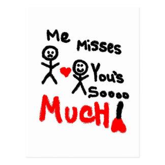 Me Misses You s Stick People Postcard