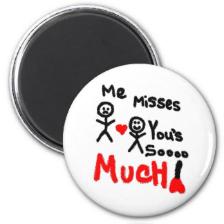 Me Misses You's Stick People 6 Cm Round Magnet