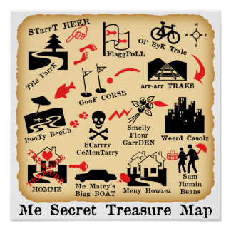 ME SECRET TREASURE MAP POSTER