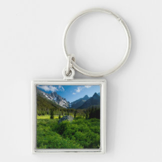 Meadow and Mt. Stuart Silver-Colored Square Key Ring