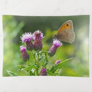 Meadow Brown Butterfly on Thistle Trinket Tray